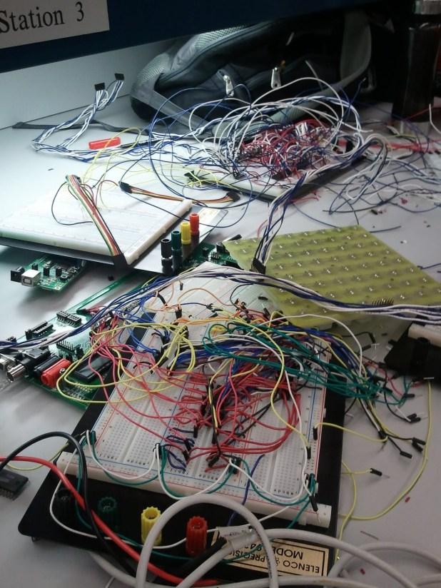 Initial breadboard wiring setup