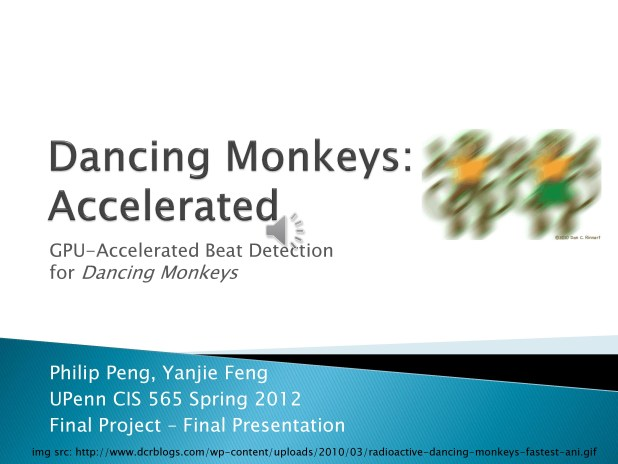1 Hello, today I will be presenting to you our CIS 565 final project, GPU-Accelerated Beat Detection for Dancing Monkeys, by Philip Peng and Yanjie Feng