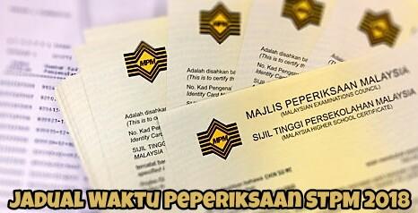 preview:Jadual Waktu Peperiksaan STPM 2018