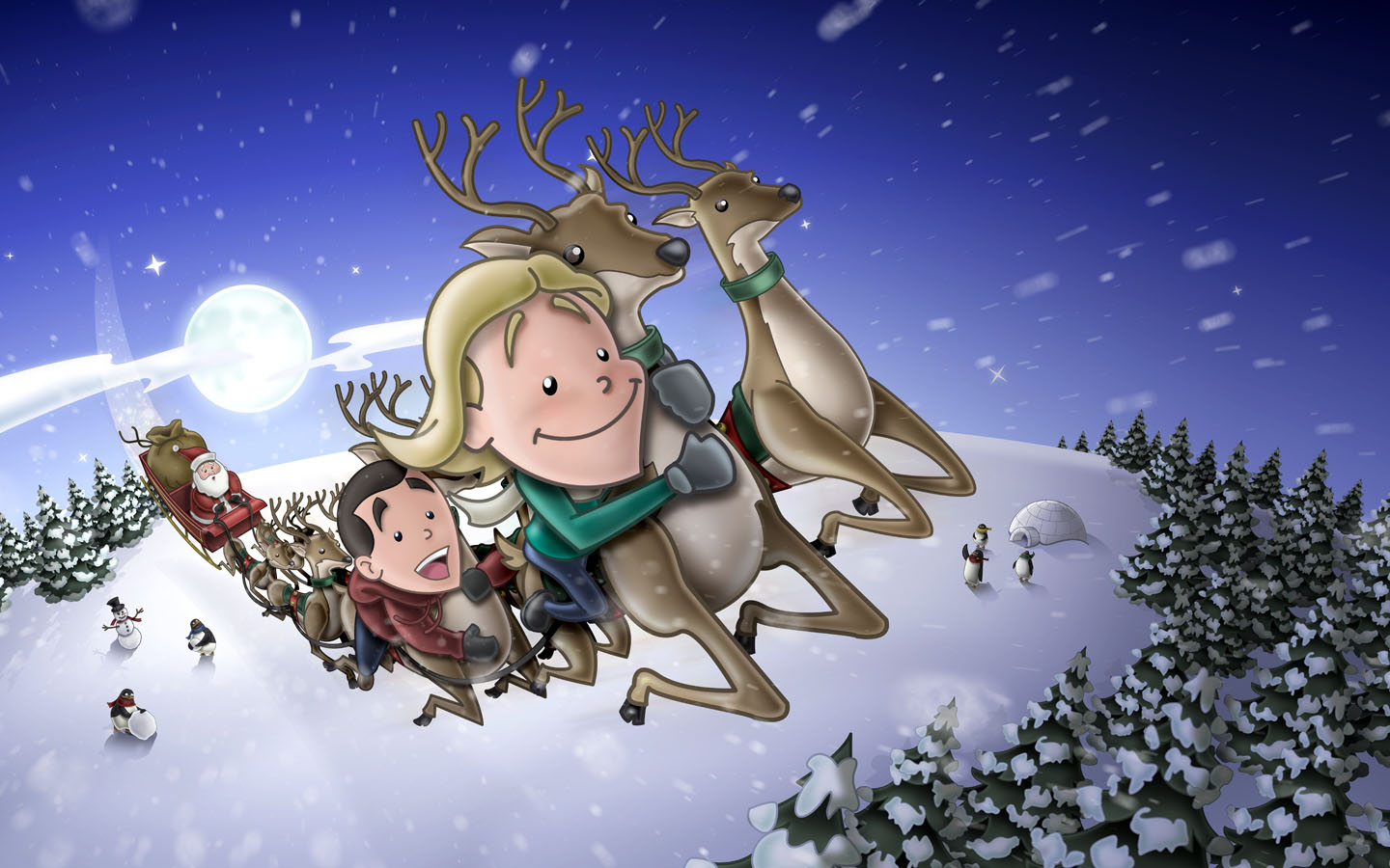 Christmas Wallpaper Snow Falling Kernie Cam Productions Gallery Sleigh Stowaways 2007