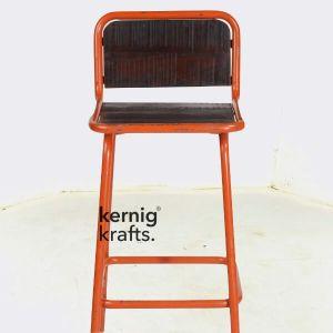 BCHM68729 Wooden Seat Minimal Industrial Bar Chair