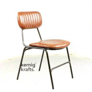 CHAM68522 Iron Frame Leather Upholstery Cafe Restaurant Chair