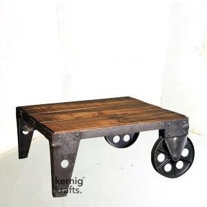 COFT43074 Cast Iron Mango Wood Wheel Coffee Table