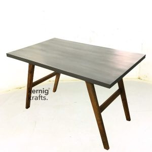 DINT37473 Cement Finish Mango Wood Mid Century Modern Dining Table
