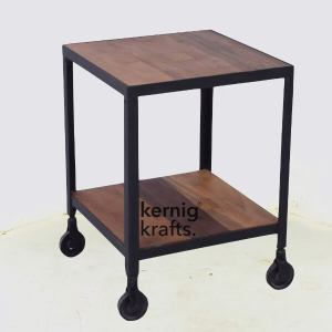 ENDT41611 Metal with Mango Wood Top Industrial End Table