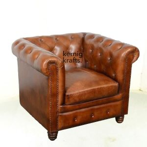 SOFA39812 Single Seater Leather Vintage Finish Chesterfield Sofa