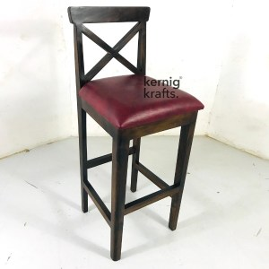 BCHM60449 Classic Wooden Bar Chair in Upholestry Seat Rosewood