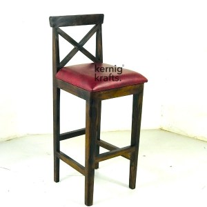 BCHM79090 Cross Back Wooden Duco Finish Bar Chair With Cushion