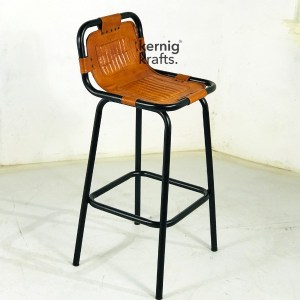 BCHM84235 Metal Sleek Bar Chair With Leather Seat