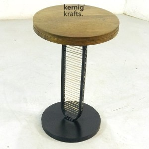 ENDT23386 Bamboo Canning Wood Top Industrial End Table