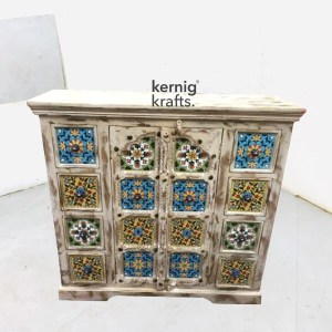 SDBA91398 White Wash Mango Wood Sideboard With Hand Carving and Tile Work