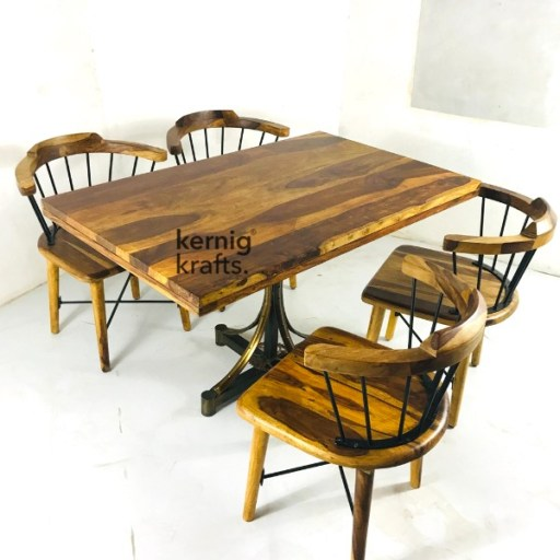SETD38412 Rustic Chair Table Industrial Dining Set for Cafe and Bistro