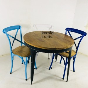 SETD64185 Metal Chair Table Industrial Dining Set for Bar