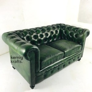 SOFA57486 Two Seater Premium Goat Leather Vintage Finish Classic Distress Green Chesterfield Sofa