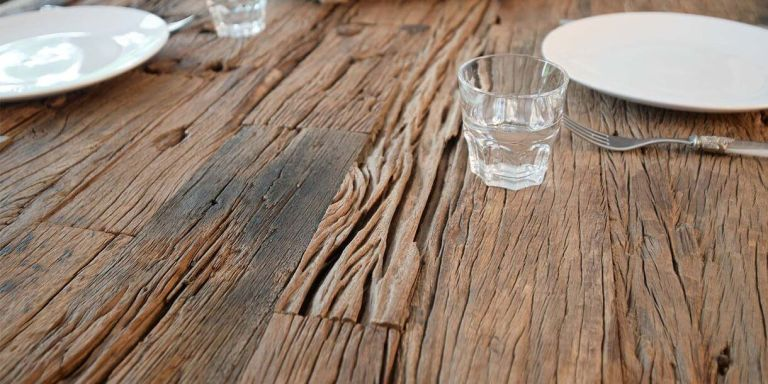 Luxe Kensington Reclaimed Wood Dining Table closeup banner 1220x1220