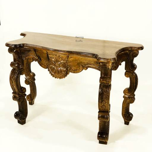 console table hand carved wood kernig krafts accent