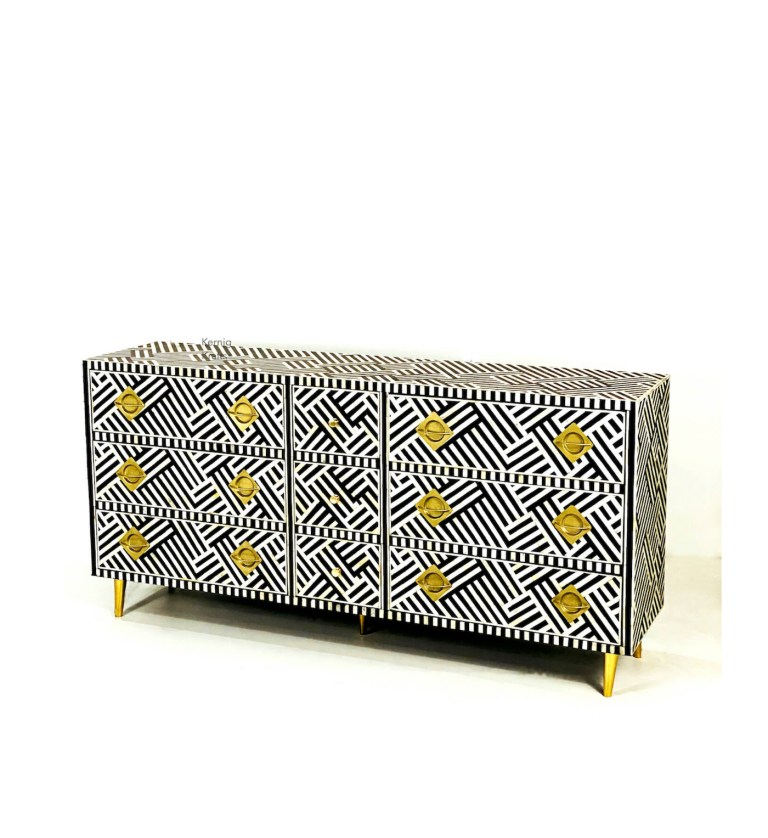bone inlay credenza kernig krafts black white