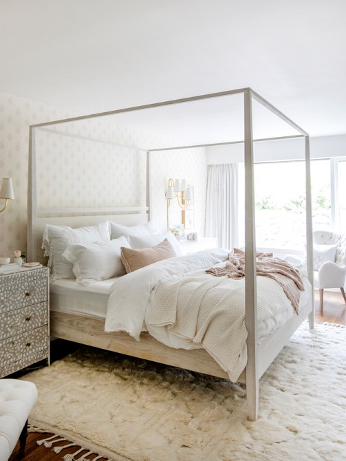 light canopy four poster bed wood