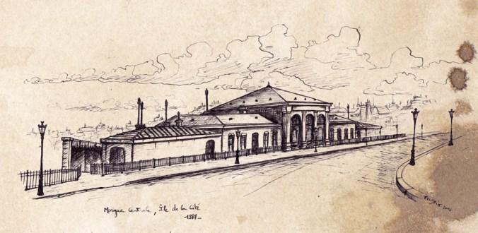 Morgue centrale de Paris, 1888, île de a Cité