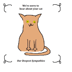 Zombie Cat Returns sympathy card - outside