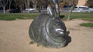 Giant bunny statue near Monopoly Board.