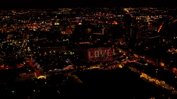 View of LOVE from The Tower of The Americas as Christmastime.