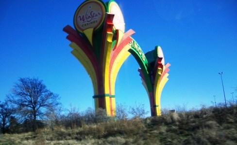 An exceptionally poor photo of the WinStar sign as you enter Oklahoma.