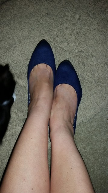 Pye and my blue suede shoes, with toe cleavage.