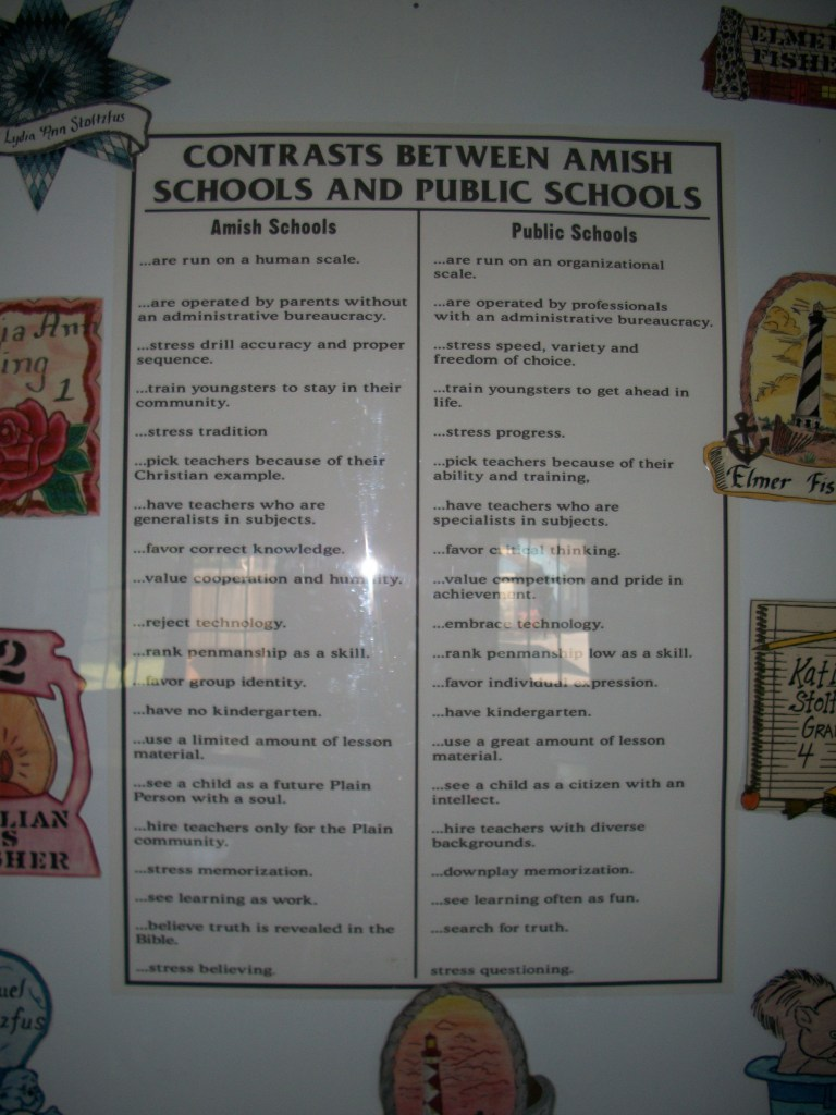 Hanging in the one-room school house, Contrasts Between Amish and Public Schools