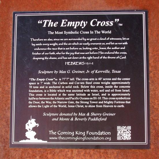 The Empty Cross plaque.