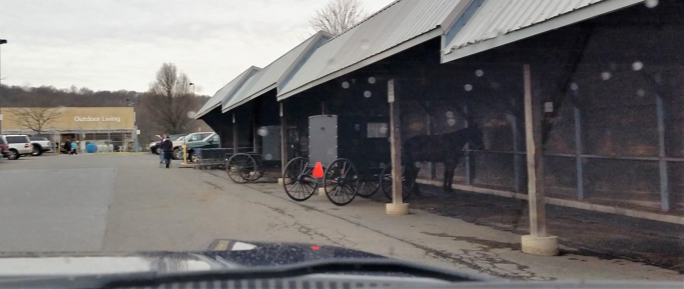 Amish buggy barn at Walmart in Ephrata, Pennsylvania.