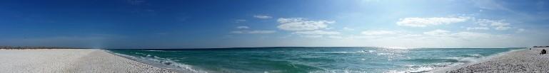 Florida panhandle beach panorama.