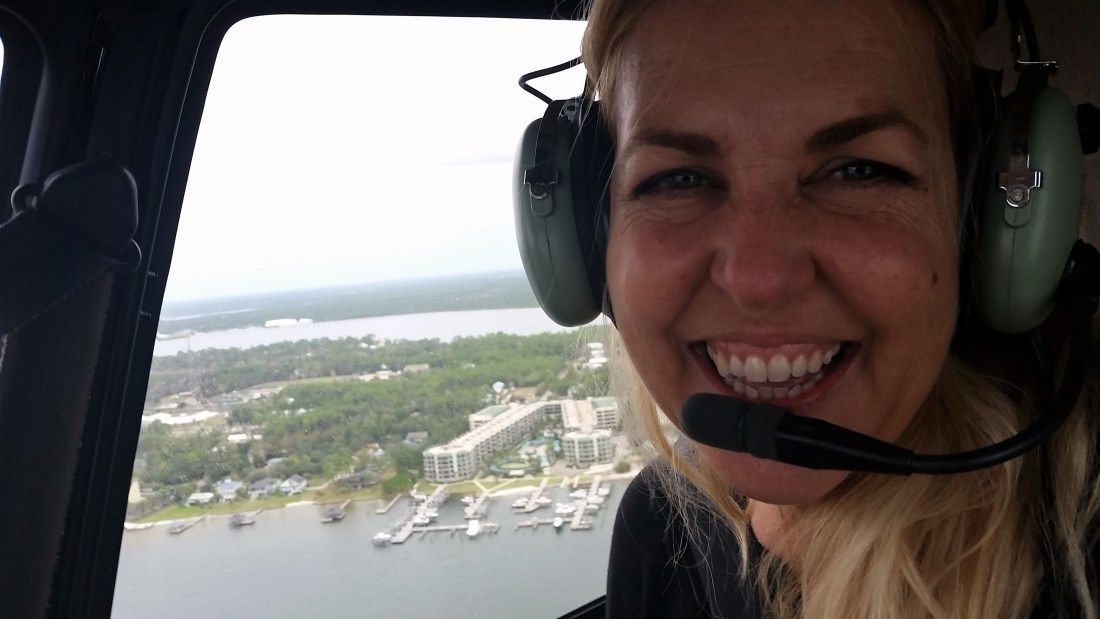 Me, riding in the helicopter and having a blast!