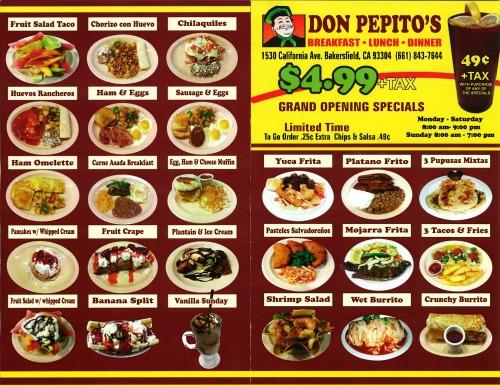 Don Pepitos menu pg1