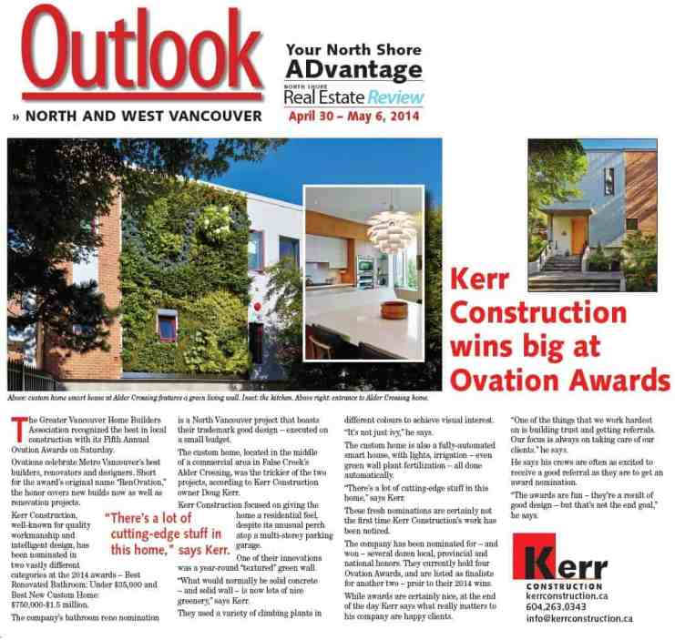 ovation awards Kerr Construction