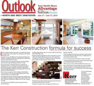 Kerr Construction featured in North shore Outlook