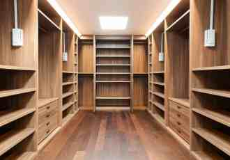 wooden walk in closet