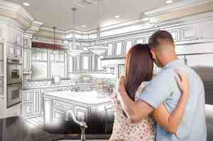 Young Couple Looking Inside Custom Kitchen and Design