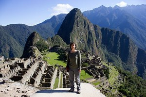 Me at the iconic viewpoint of Machu Picchu