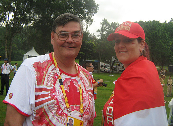 Mike and me showing our Canuck team spirit