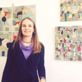 Me in front of my abstracted paintings.