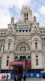 A Welcome sign in the Centre of Madrid