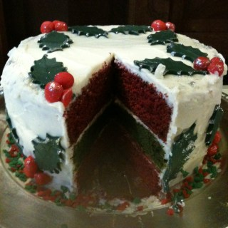 Green and red velvet festive cake with cream cheese frosting