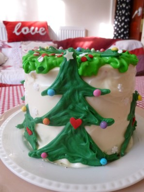 Festive Red and Green Six Layer Cake with Cream Cheese Frosting