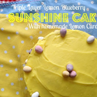 Triple Layer Lemon Blueberry Sunshine Cake with Homemade Lemon Curd (and Lemon frosting)