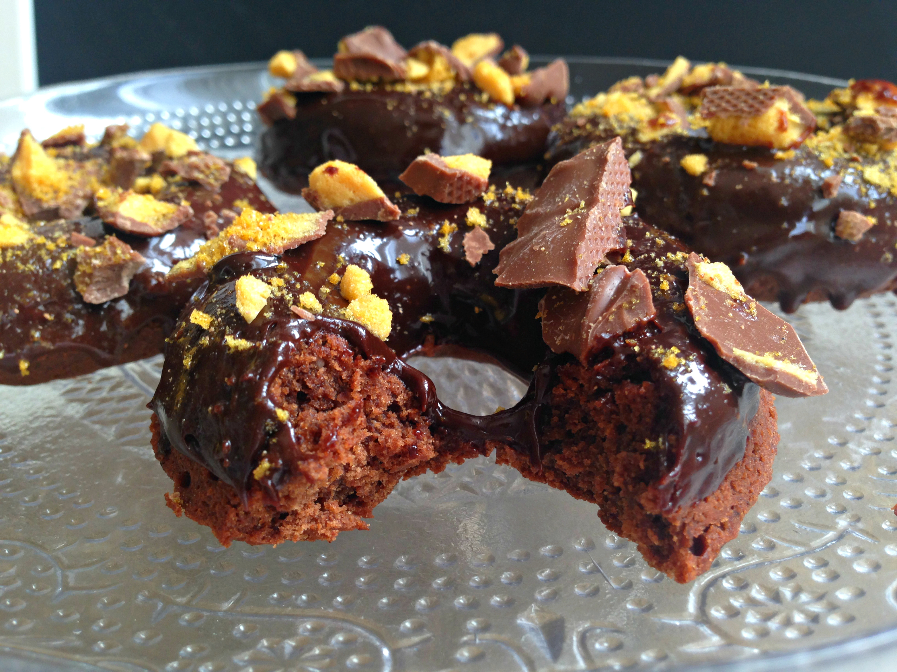 Baked Chocolate Doughnuts with Honeycomb Crumble | kerrycooks.com