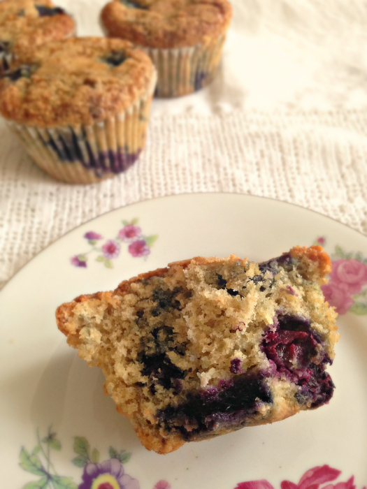 GORGEOUS muffins with coconut oil - only 205 calories! {Healthier} Blueberry Bran Muffins with Coconut Oil