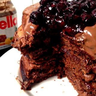 Nutella Chocolate Pancakes with Blueberry Sauce