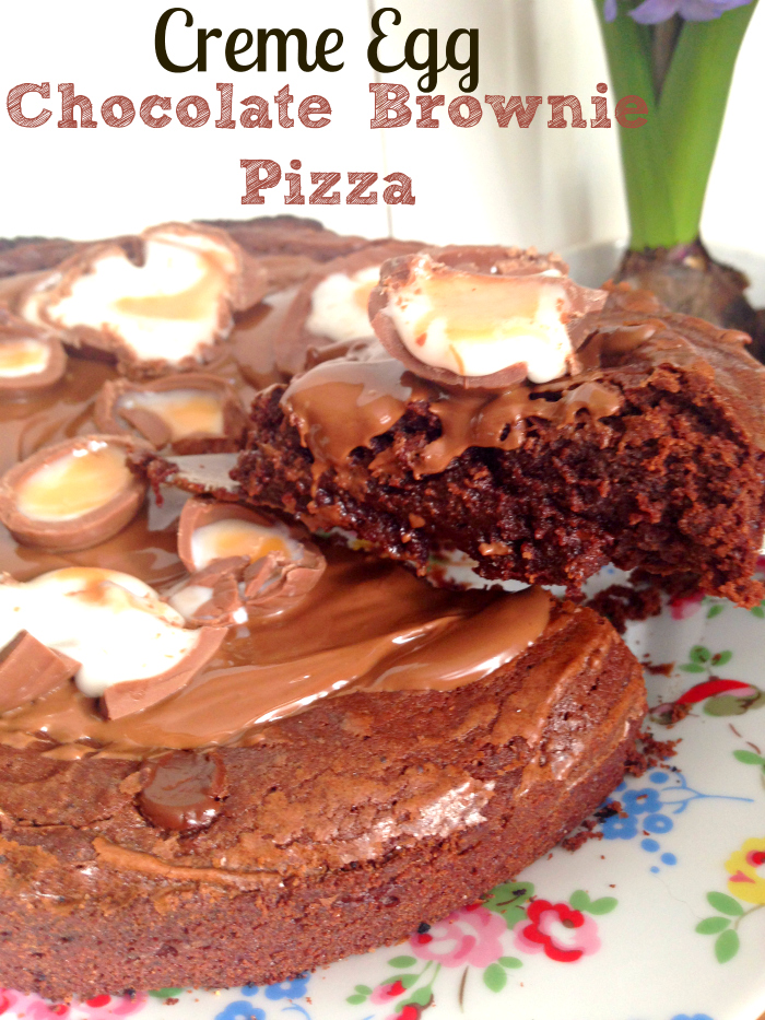 Yummy Easter baking - Chocolate Fudge Brownie Creme Egg Pizza!