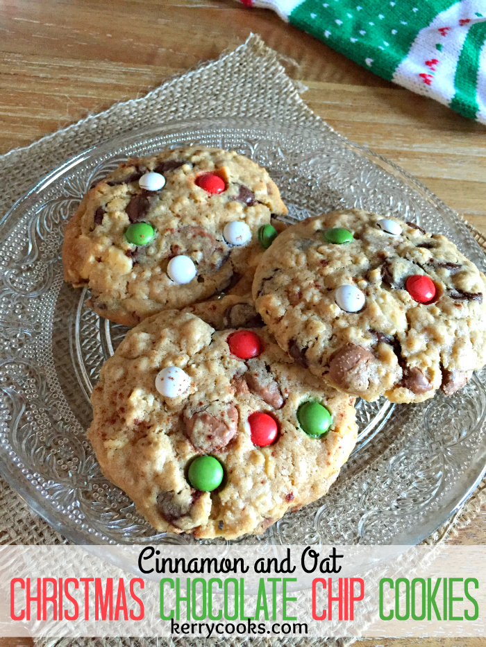Christmas Chocolate Chip Cookies - yummy, chewy and packed FULL of triple chocolate chips! Perfect for Santa!
